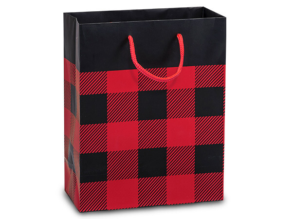 "Buffalo Plaid Matte Gift Bags, Cub 8x4x10"", 10 Pack"