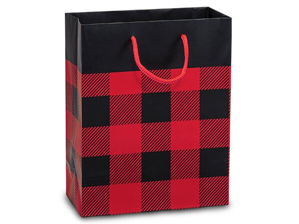 "Buffalo Plaid Matte Gift Bags, Cub 8x4x10"", 10 Pack"