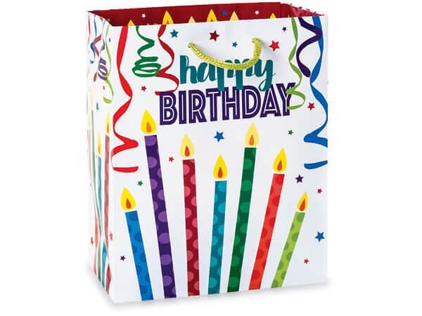 "Happy Birthday Gloss Gift Bags, Cub 8x4x10"", 10 Pack"