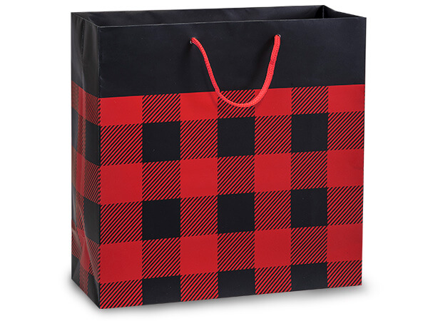 """Buffalo Plaid Matte Gift Bags, Filly 12x5x12"""", 100 Pack"""