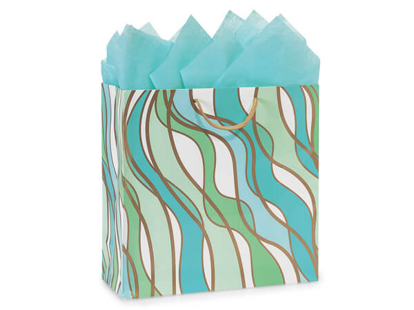 """Coastal Paradise Gloss Gift Bags, Filly 12x5x12"""", 100 Pack"""