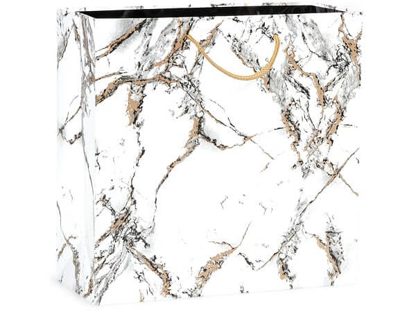 "Marble Gloss Gift Bags, Filly 12x5x12"", 100 Pack"
