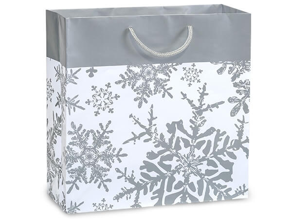 "Silver Snowflakes Gloss Gift Bags, Filly 12x5x12"", 100 Pack"
