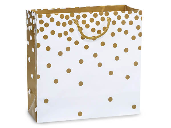 "Gold Dots Gloss Gift Bags, Filly 12x5x12"", 10 Pack"