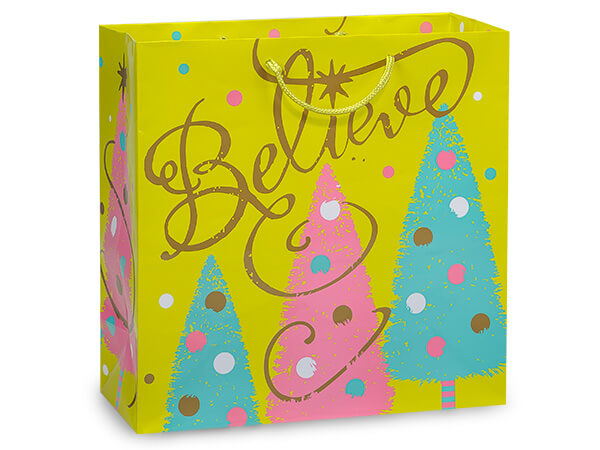 """*Golden Trees Gloss Gift Bags, Filly 12x5x12"""", 10 Pack"""