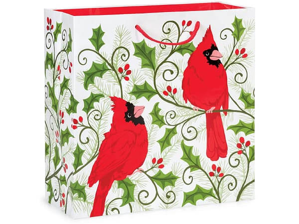 "Holly Berry Cardinal Gloss Gift Bags, Filly 12x5x12"", 10 Pack"