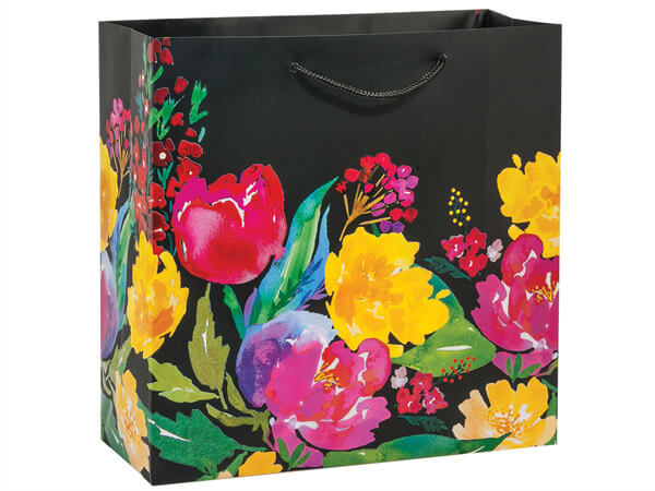 """Watercolor Garden Blooms Gift Bags, Filly 12x5x12"""", 10 Pack"""