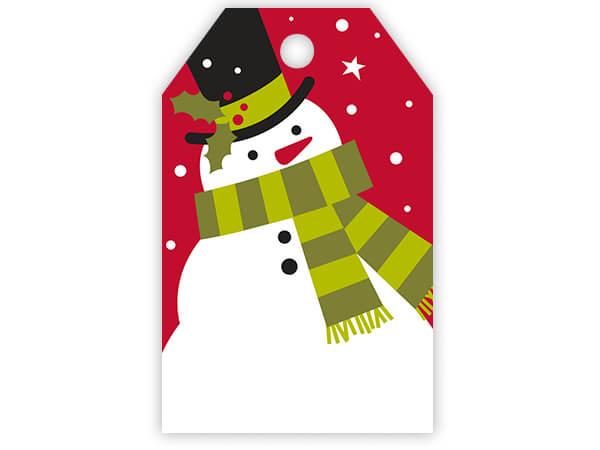 Frosted Snowman Gloss Printed Gift Tags 2-1/4x3-1/2""