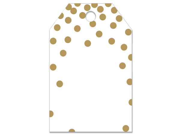 Metallic Gold Dots Gloss Printed Gift Tag 2-1/4x3-1/2""