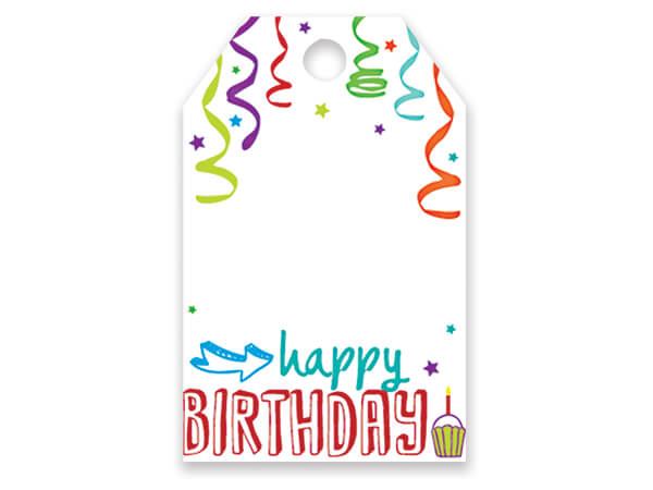 "Happy Birthday Gloss Printed Gift Tags, 2-1/4x3-1/2"", 50 Pack"