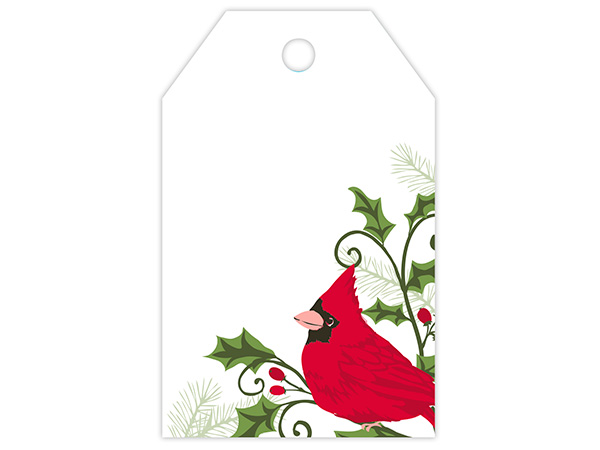 Holly Berry Cardinal Gloss Printed Gift Tags 2-1/4x3-1/2""