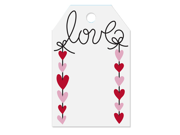 """Hanging Hearts Printed Gift Tags 2-1/4x3-1/2"""", 50 Pack"""