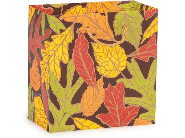 """Autumn Leaves Matte Gift Bags, Jewel 6.5x3.5x6.5"""", 100 Pack"""