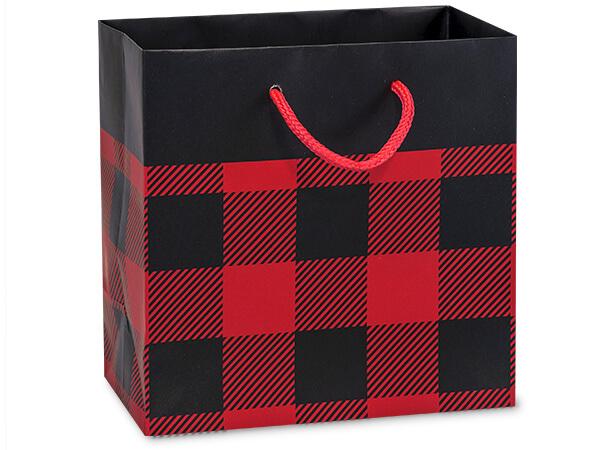 "Buffalo Plaid Matte Gift Bags, Jewel 6.5x3.5x6.5"", 100 Pack"