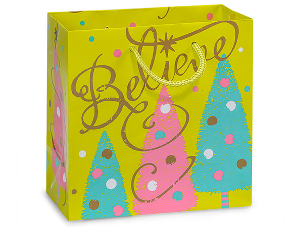 """Golden Trees Gloss Gift Bags, Jewel 6.5x3.5x6.5"""", 100 Pack"""