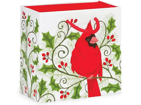 "Holly Berry Cardinal Gloss Gift Bags, Jewel 6.5x3.5x6.5"", 100 Pack"