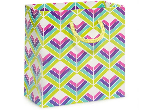 "Kaleidoscope Gloss Gift Bags, Jewel 6.5x3.5x6.5"", 100 Pack"