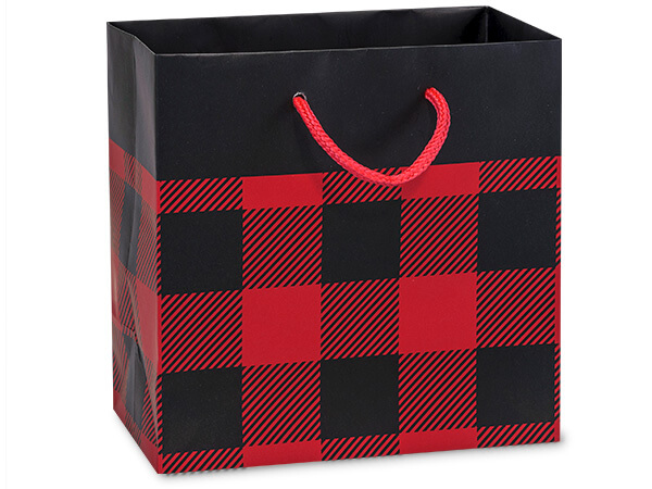 "Buffalo Plaid Matte Gift Bags, Jewel 6.5x3.5x6.5"", 10 Pack"