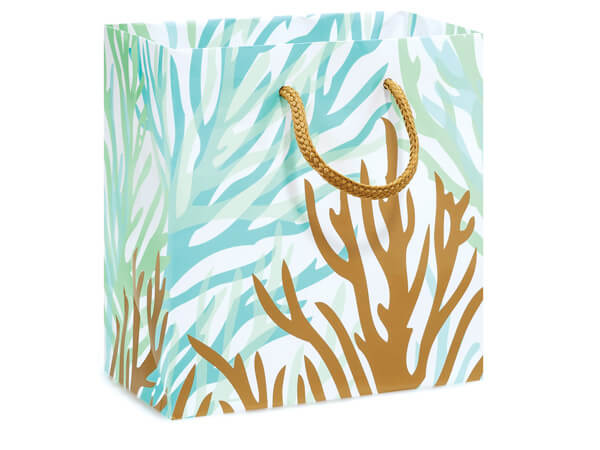 "Coastal Paradise Gloss Gift Bags, Jewel 6.5x3.5x6.5"", 10 Pack"