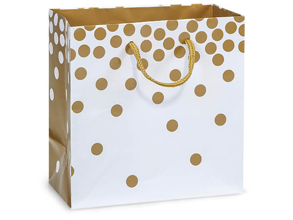 "Gold Dots Gloss Gift Bags, Jewel 6.5x3.5x6.5"", 10 Pack"