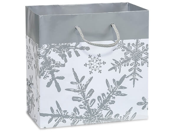 "*Silver Snowflakes Gloss Gift Bags, Jewel 6.5x3.5x6.5"", 10 Pack"