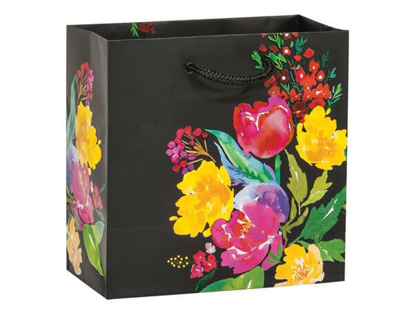 """Watercolor Garden Blooms Gift Bags, Jewel 6.5x3.5x6.5"""", 10 Pack"""