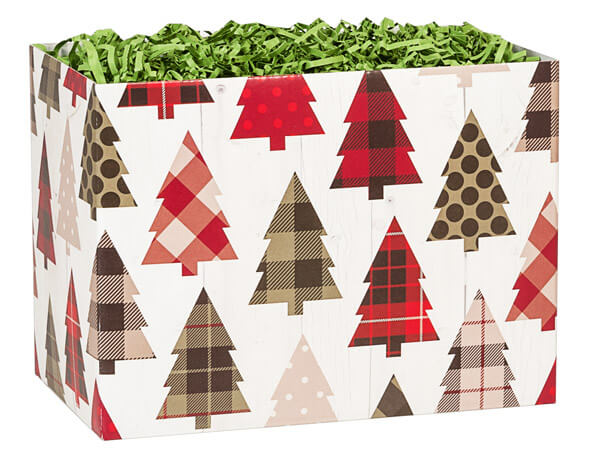 "Plaid Trees Basket Boxes, Large 10.25x6x7.5"", 6 Pack"
