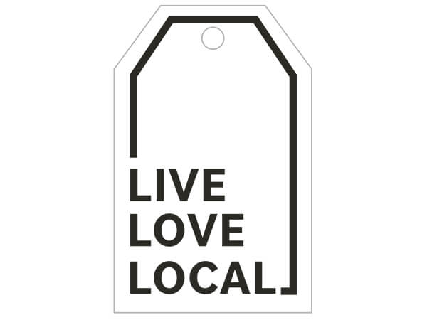 "Live, Love, Local Gloss Printed Gift Tags, 2-1/4x3-1/2"", 50 Pack"
