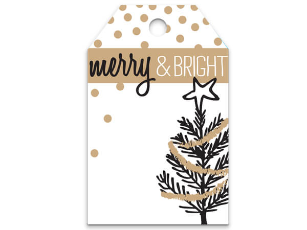 Merry & Bright Golden Trees Metalli Printed Gift Tags 2-1/4x3-1/2""