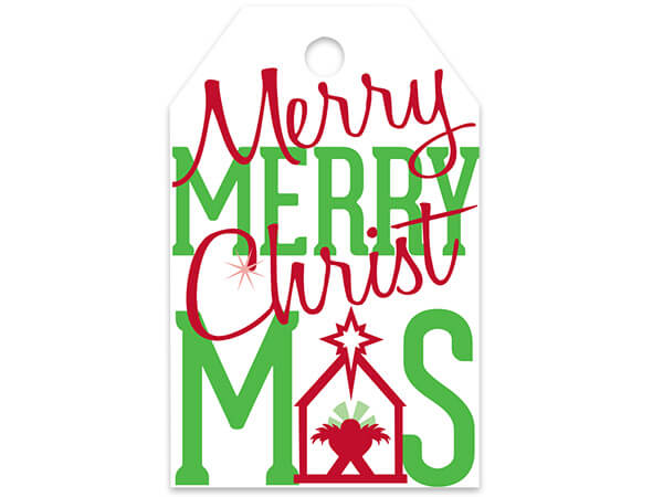 Merry Christmas Manger Printed Gift Tags 2-1/4x3-1/2""