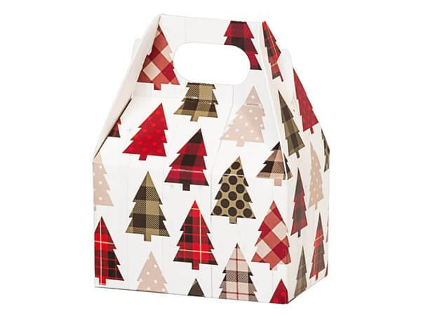 """Plaid Trees Mini Gable Boxes, 4x2.5x2.5"""", 6 Pack"""