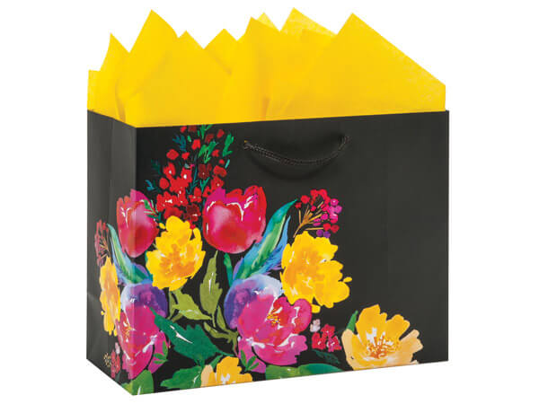 Watercolor Garden Blooms Gift Bags with Gloss Accents
