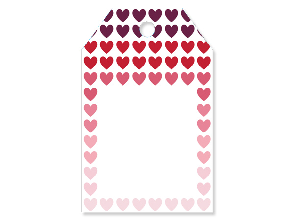 """Ombre Hearts Printed Gift Tags 2-1/4x3-1/2"""", 50 Pack"""