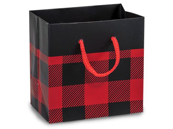 "Buffalo Plaid Matte Gift Bags, Petite 4x2.5x4"", 100 Pack"
