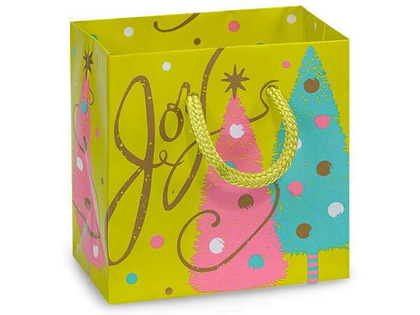 """Golden Trees Gloss Gift Bags, Petite 4x2.5x4"""", 100 Pack"""