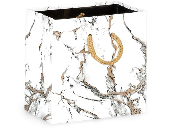 """Marble Gloss Gift Bags, Petite 4x2.5x4"""", 100 Pack"""
