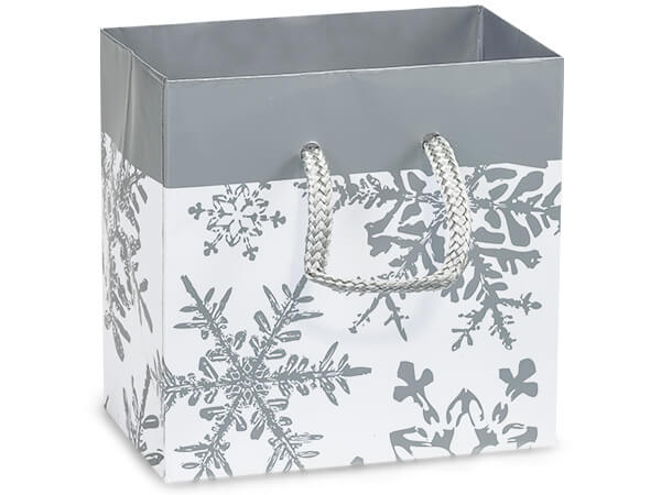 """Silver Snowflakes Gloss Gift Bags, Petite 4x2.5x4"""", 100 Pack"""