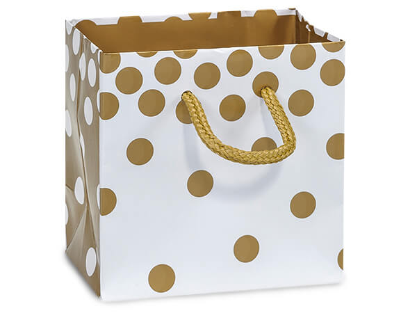 "Gold Dots Gloss Gift Bags, Petite 4x2.5x4"", 10 Pack"
