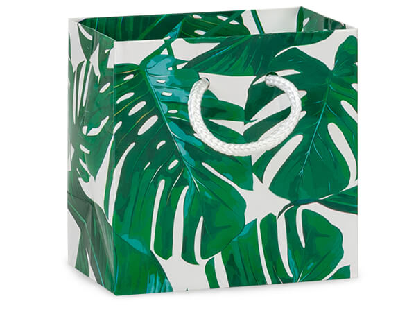 "Tropical Palm Gift Bags, Petite 4x2.5x4"", 10 Pack"