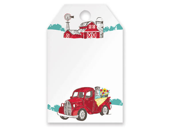 Red Farm Truck Gift Tag