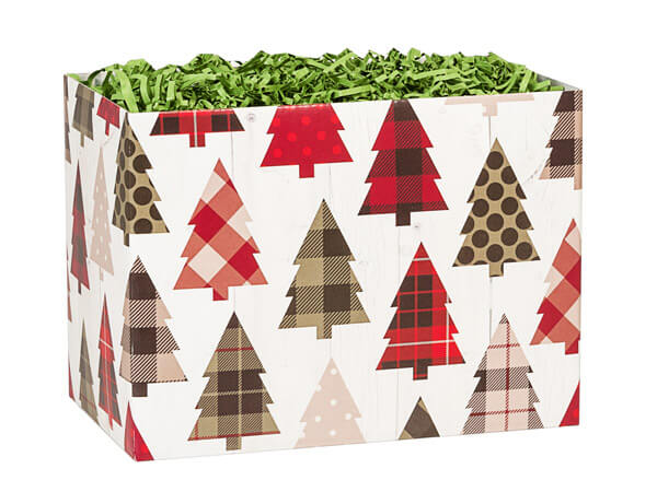 "Plaid Trees Basket Boxes, Small 6.75x4x5"", 6 Pack"