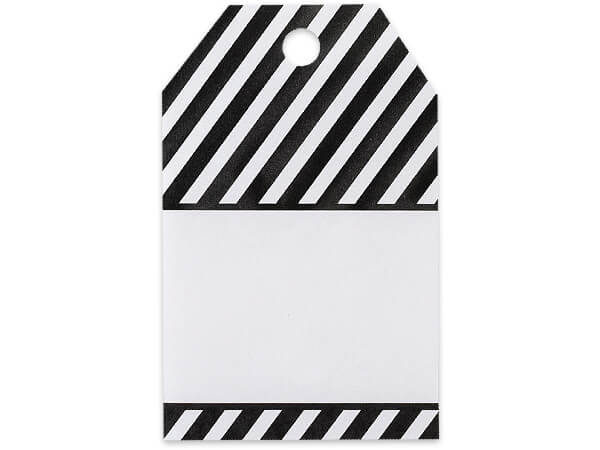 Black Stripes Printed Gift Tags 2-1/4x3-1/2""
