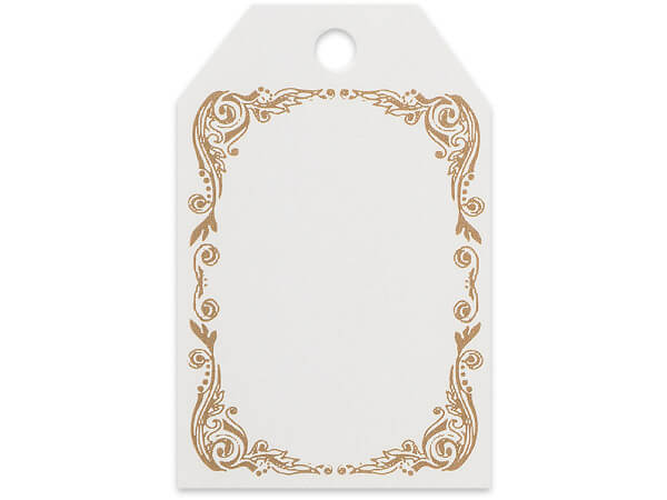 Scroll Border Printed Gift Tags 2-1/4x3-1/2""