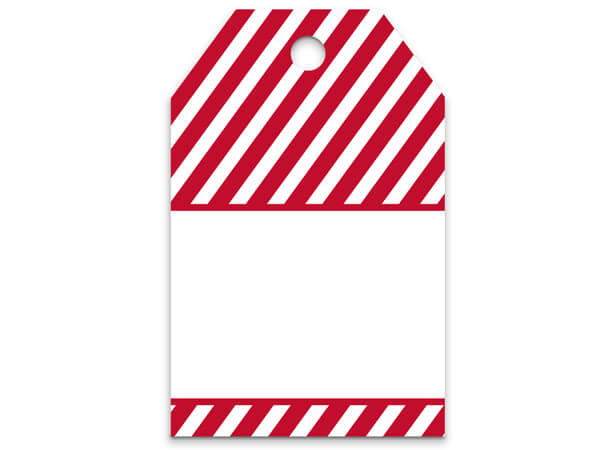 Red Stripes Printed Gift Tags 2-1/4x3-1/2""