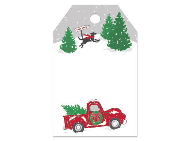 "Tree Farm Christmas Truck Gloss Gift Tags, 2-1/4x3-1/2"", 50 Pack"