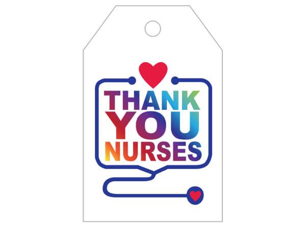 "Thank You Nurses Gloss Printed Gift Tags, 2-1/4x3-1/2"", 50 Pack"