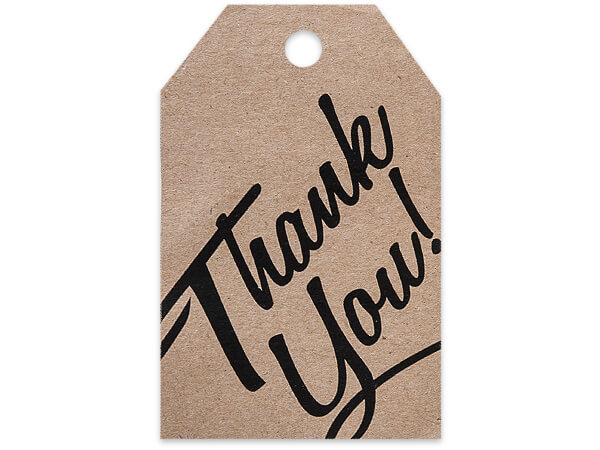 Thank You Kraft Printed Gift Tags 2-1/4x3-1/2""