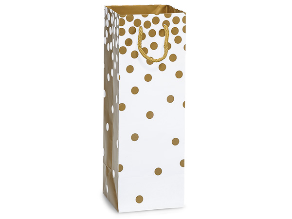 "Gold Dots Gloss Gift Bags, Wine 4.5x4.5x13"", 100 Pack"