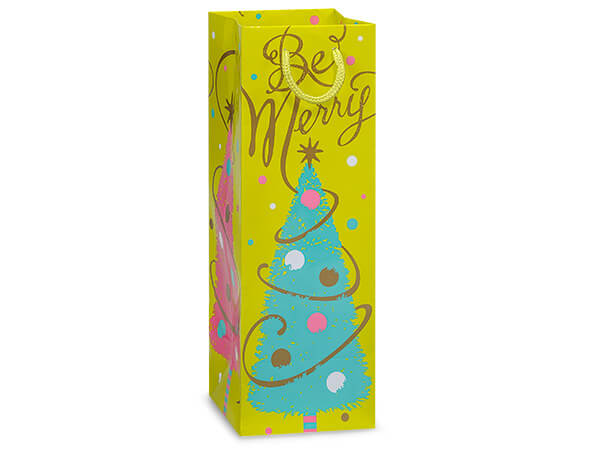 """*Golden Trees Gloss Gift Bags, Wine 4.5x4.5x13"""", 100 Pack"""