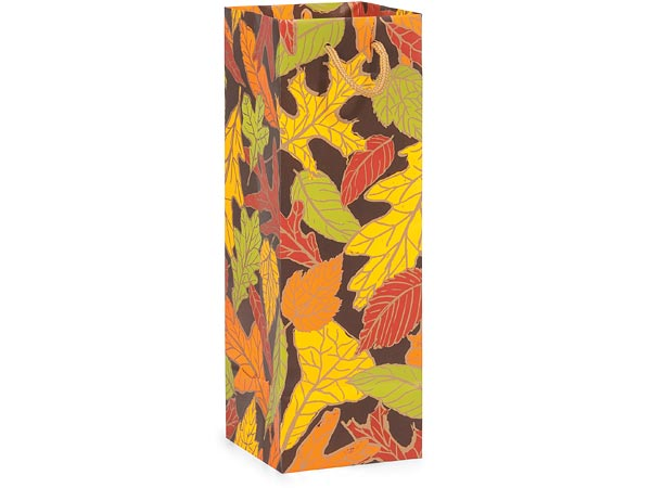 "*Autumn Leaves Matte Gift Bags, Wine 4.5x4.5x13"", 10 Pack"